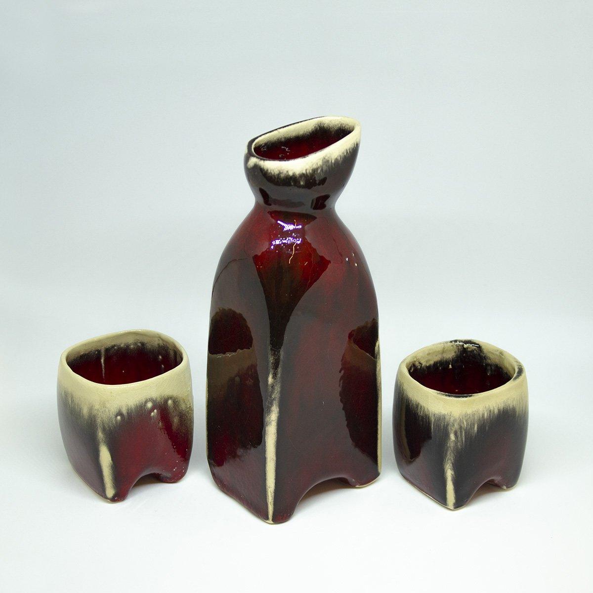 drinking set drinksets drinkkan handgemaakt een stip dast rood kruik kopjes