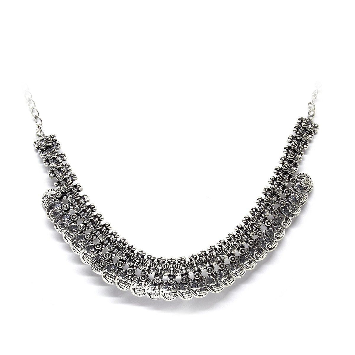 handmade silver coated necklace and earring set from India - een stip