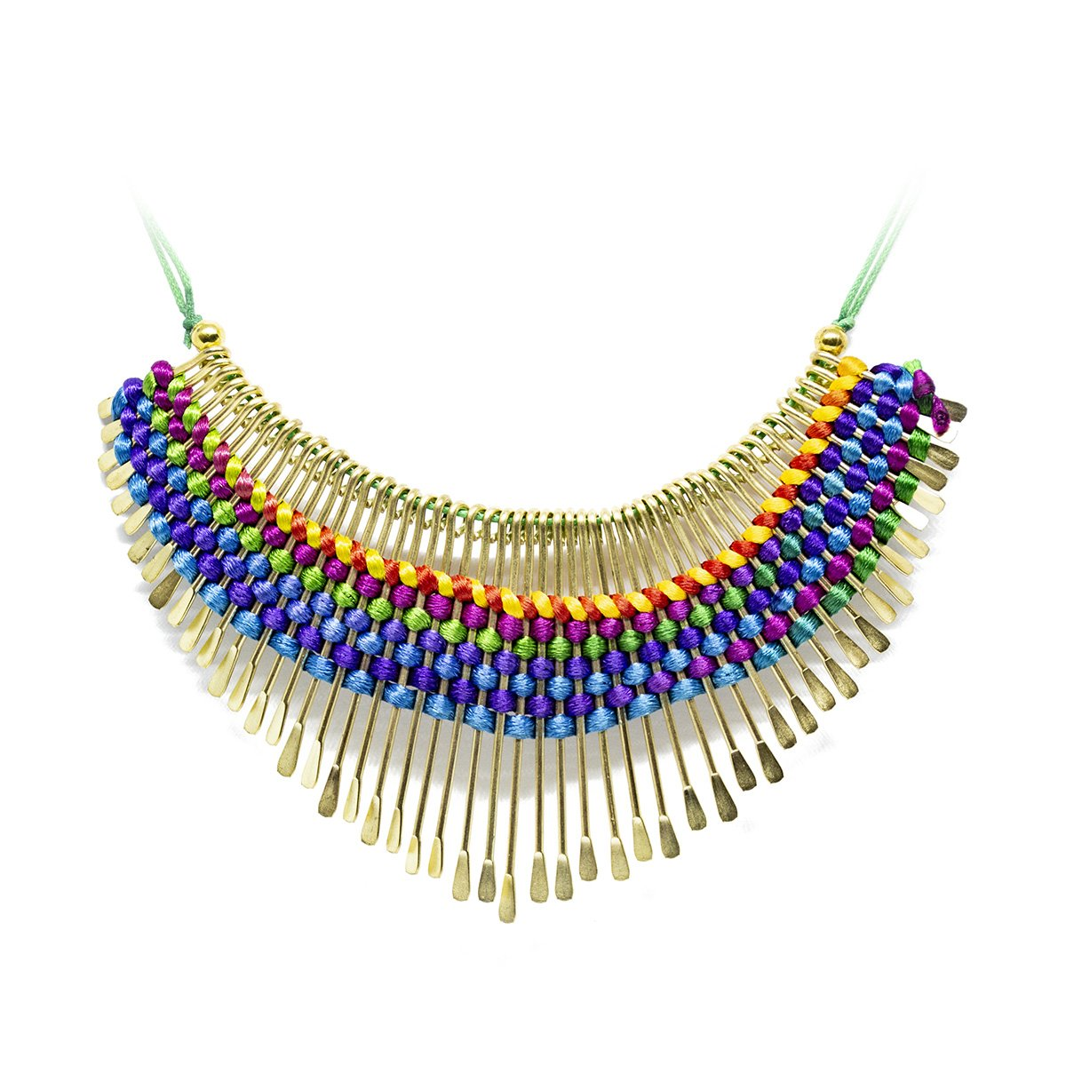 hand-braided colorful brass necklace from India - een stip